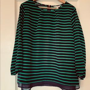 Charming Charlie green/navy blue blouse size XL